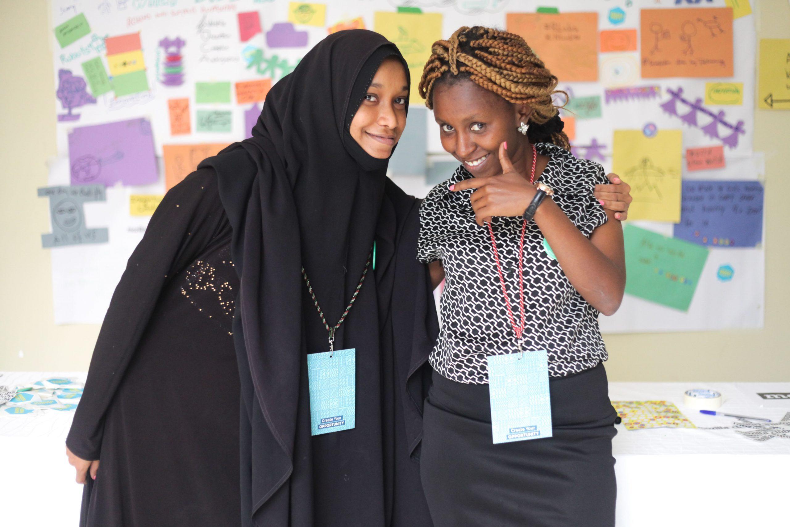 A photo of Aisha Abdulkadir and Ruth Kaveke from Kenya